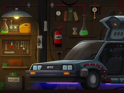 Crypto-Tower / 02. Doc's Garage (B) photoshop future bitcoin ethereum cryptocurrency science lab garage background design illustration car marty mcfly doc back to the future delorean