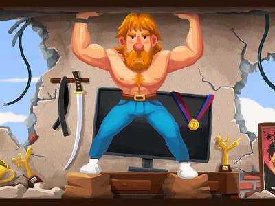 Crypto-Tower / 06. Chuck Norris' apartment strenght strong crypto game design game art flat apartment background design illustration character design meme ethereum bitcoin cryptocurrency chuck norris chuck