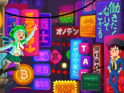 Crypto-Tower / 09. Tokyo Floor electric technology signs background design illustration game cryptocurrency crypto-game crypto bitcoin character design anime cowboy bebop japanese japan neon akihabara tokyo