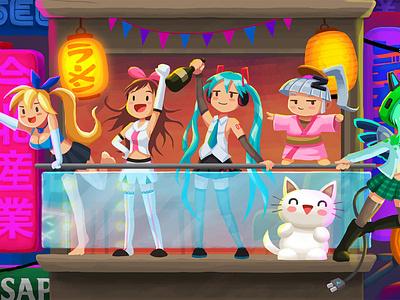 Crypto-Tower / 09. Tokyo Floor (3) zeny hime xp chan mona hatsune miku akari kanji neon cryptocurrency bitcoin background design illustration character design anime japan tokyo akihabara