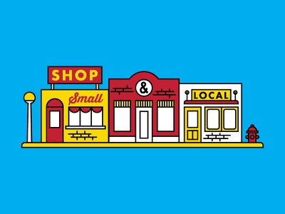 Shop Small, Shop Local blue red yellow illustration smallbusiness storefront