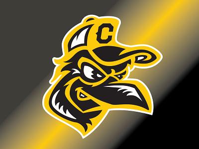 Crow Mascot yellow logo baseball brand and identity sports design sports design logo design