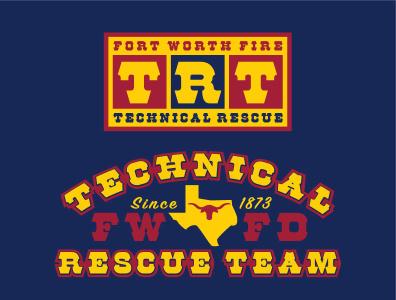 TRT - Technical Rescue firefighter fire western blue yellow design logo