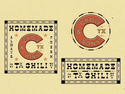 Crow & Sons TX Chili food label distressed southwest texas western brown chili brand and identity logo design logo branding