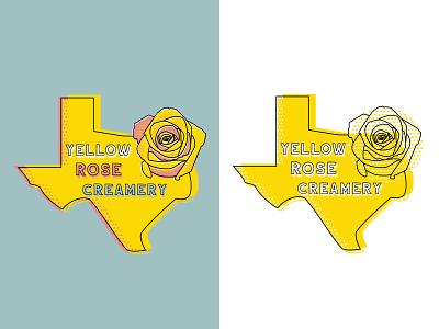 Yellow Rose Creamery Texas Logo rose yellow texas brand and identity design logo design logo