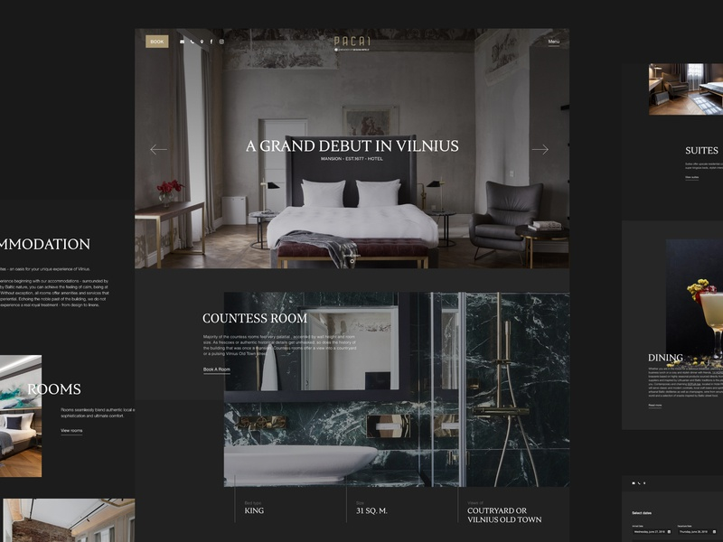 Hotel Pacai Website designhotels luxury noble serif dark web website design pacai hotel
