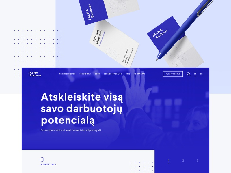 Alna Business bright brand grid branding website web design corporate blue