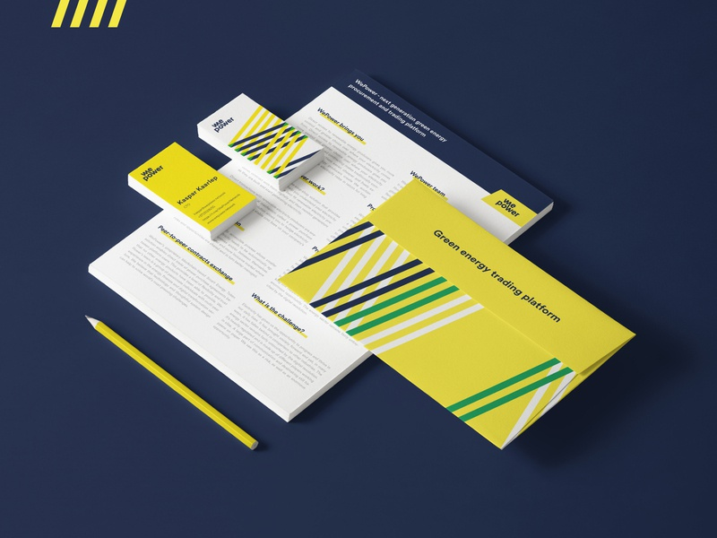 Wepower Brand extension stripes visual design brand identity branding bright vivid colour startup energy green energy wepower