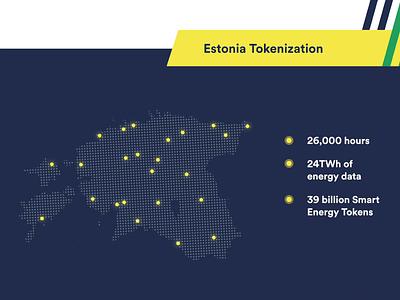 Estonia Tokenization branding wepower electricity energy green energy map illustration animation
