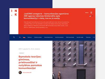 INK agency branding ui ux grid grid system dynamic communications agency red blue branding