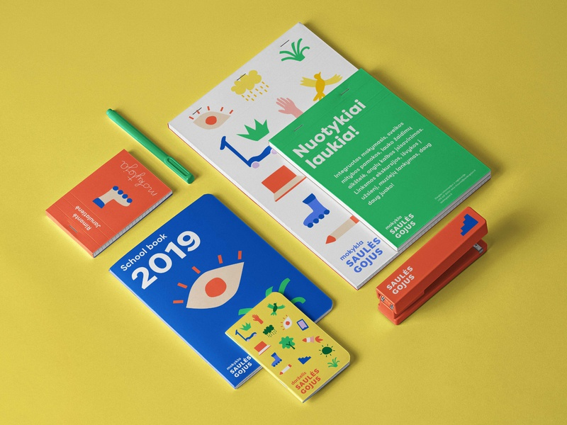 Saulės Gojus | Kindergarten & school branding illustrations logo stationary learn learning study pupil colorful bright branding education kindergarden school