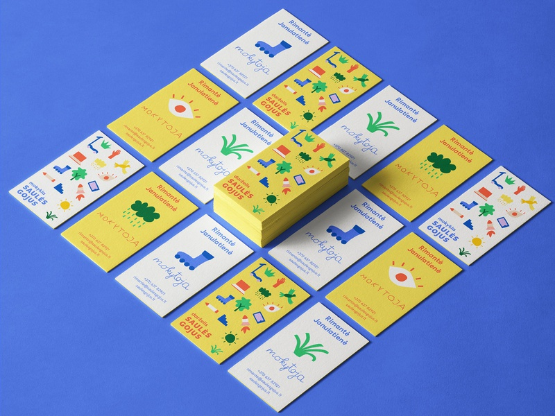 Saules Gojus School Branding logo identity green blue yellow bright colors illustrations kindergarten branding education school