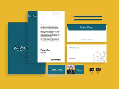 Brand Identity of Elusive Dream Design mockup design envelope design letterhead business cards web design logo design small business mockup typography vector branding logo design