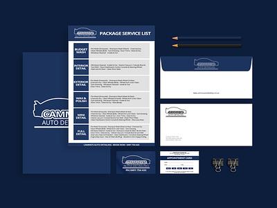 Brand Identity for Cammo's Auto Detailing small business mockup design mockup logo design logo letterhead envelope design design business cards branding