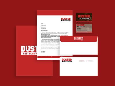 Brand Identity for Dusted Pest Management mockup small business mockup design logo design logo letterhead envelope design design business cards branding