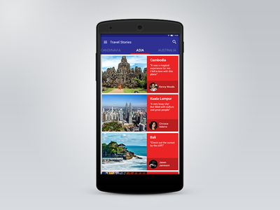 Android Material Design - Travel App ui design android material flat ux mobile
