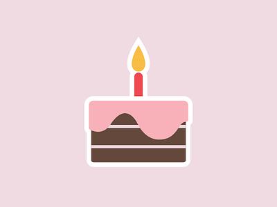 Happy Birthday! cake flat illustration cute icon