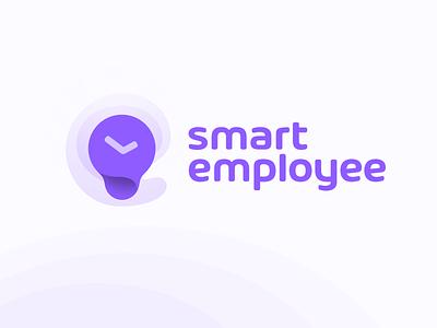 Work time tracking app logo concept bulb smart time clock logo