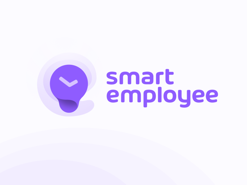 Work time tracking app logo concept bulb smart time clock logo