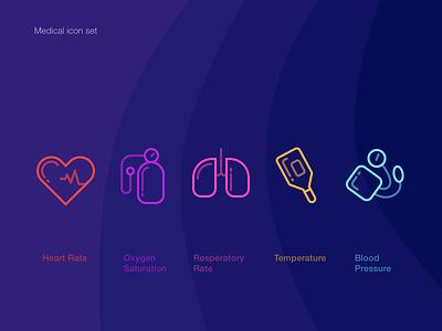 Medical icon set level temperature resperation blood o2 heart medical