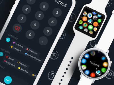 Expense tracking app of my dreams dark ui money smartwatch watch tracking expense expenses