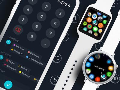 Expense tracking app of my dreams dark ui money smartwatch watch tracking expense expenses
