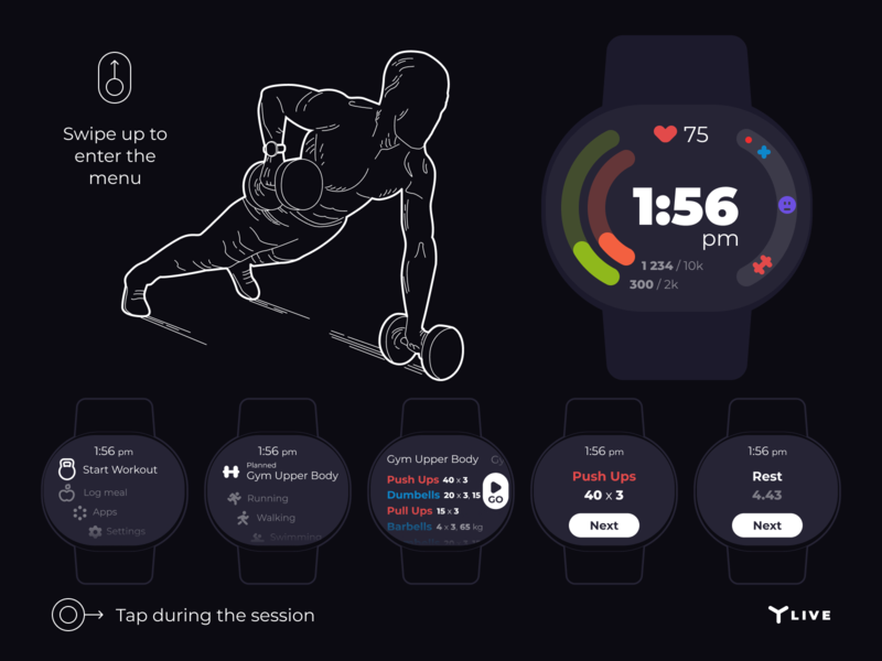Wearable health and fitness tracker  Workout flow by Renat