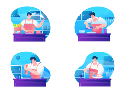 Cooking Kit Illustration welovedaily dribbble debut welovedesign web vector cooking app kit cooking illustration flat