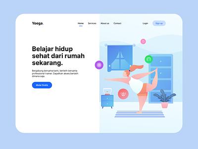 Yoga - Hero Section ui welovedesign yoga dribbble vector web illustration flat design
