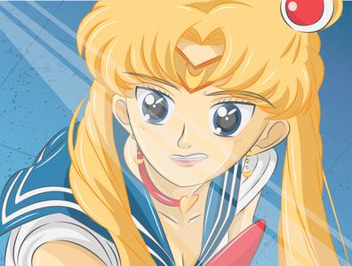 Usagi Tsukino aka Sailor Moon anime manga comic hero vector pop culture illustration character