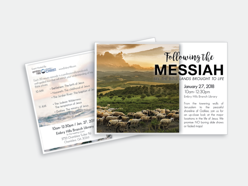 Event Postcard direct mail religious layout print typography postcard design