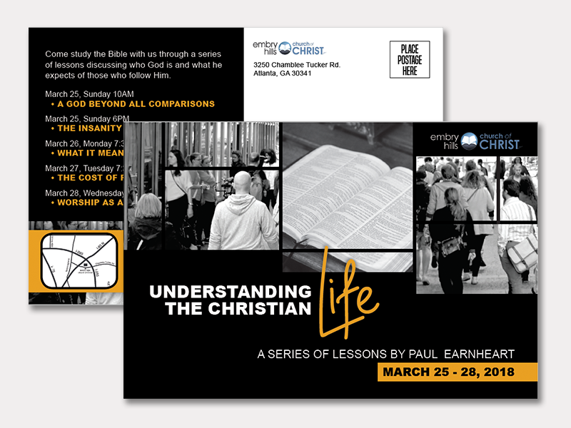 Event Postcard Design indesign print church advertising event postcard graphic design