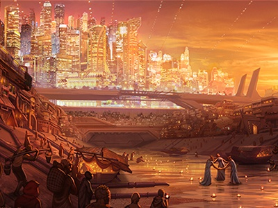 Sos Dribbble Stepstones dystopian illustration utopian sci fi concept art book cover