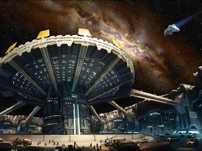 SoS - Themis Mining Colony dystopian utopian illustration cyberpunk sci fi concept art