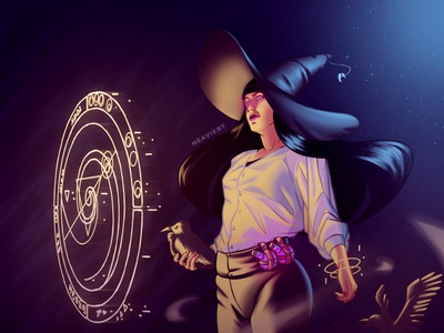 The crow witch witch magic character girl illustration