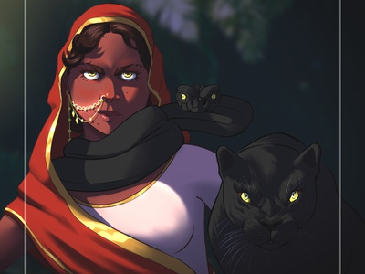 Family Portrait clipstudio portrait character puma snake girl illustration