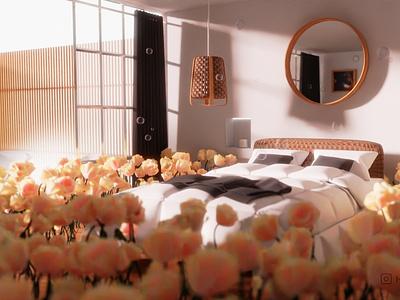Day dreaming textures render room flower bed interior-design blender 3d illustration