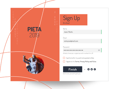 Pieta Contest flat sign in sign form field ui interface design form sign up