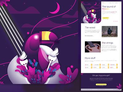 Ukulele - Landing Page ukulele dailyui 003 dailyui uiinspiration landing page night animal illustration pink purple hawaii animal minimal typography illustration figma vector ux ui interface
