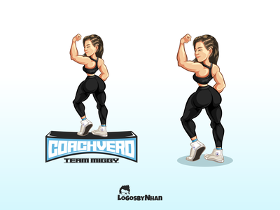 Coach Verrrooo mascot logo coach personal training personal trainer pt beautiful girl bodybuilding flexing vector illustration illustration character design mascot design mascot logo mascot logo cartoon logo cartoon mascot cartoon character cartoon