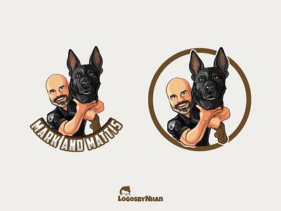 Mark and Mattis logo k9 bald social media influencer dog influencer mascot logo mascot design mascot logo illustration character design cartoon mascot cartoon logo cartoon character cartoon cartoon art