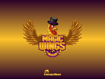Magic Wings logo fried chicken fast food cartoon illustration wings chicken wings chicken logo character design mascot design mascot cartoon mascot cartoon logo cartoon cartoon character cartoon art