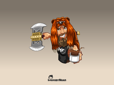 Berzerker Bear - Chief Viking holding cup of coffee bear berserker coffee axe viking viking logo illustration logo design logo mascot character mascot design mascot logo mascot cartoon characters cartoon illustration cartoon design cartoon mascot cartoon character cartoon logo cartoon