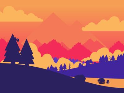 W clouds pines tree trees river lake purple blue orange sunset mountains scenery