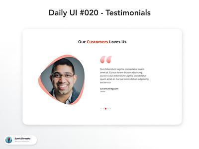 Daily UI #020 - Testimonials clientwork howclientlikes feedbacks multitestimonails testimonials splashscreen