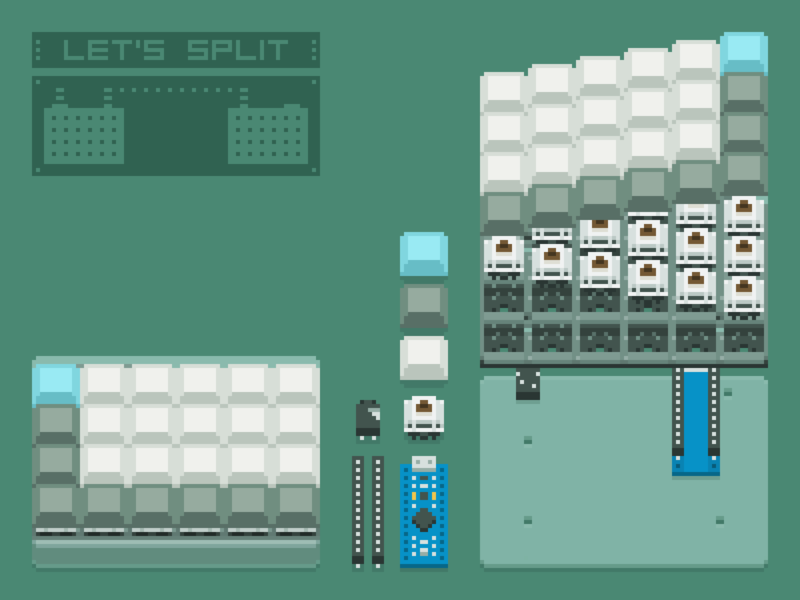 Self-made keyboard: Let's Split mechanical electronic keyboard pixelart