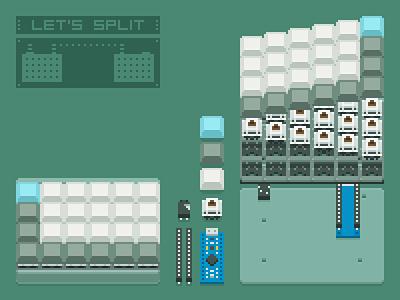 Self-made keyboard: Let's Split mechanical electronic keyboard pixelart