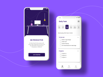 Be productive |  Day Planner work from home schedule todolist dayplanner flat vector app ux ui user interface design be safe quarantine covid-19 design uiux