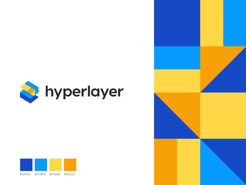hyperlayer layers abstract rectangular typography design logo sketch branding