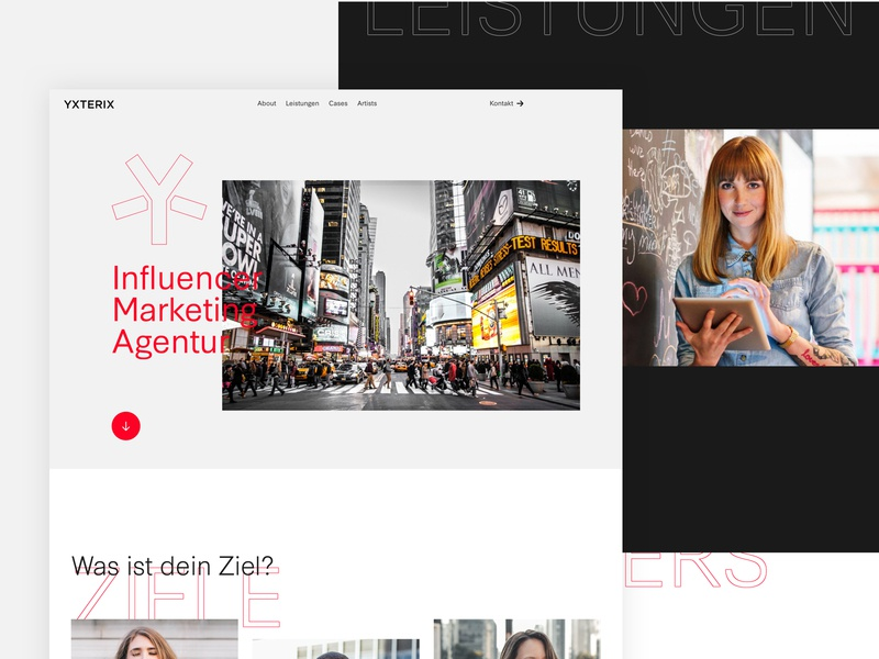 Yxterix - Home typography whitespace clean webdeisgn web ux ui agency website marketing agency webdesign